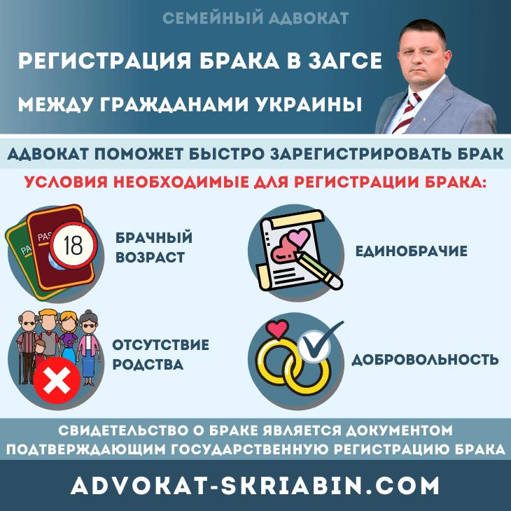 Регистрация брака в ЗАГСе между гражданами Украины