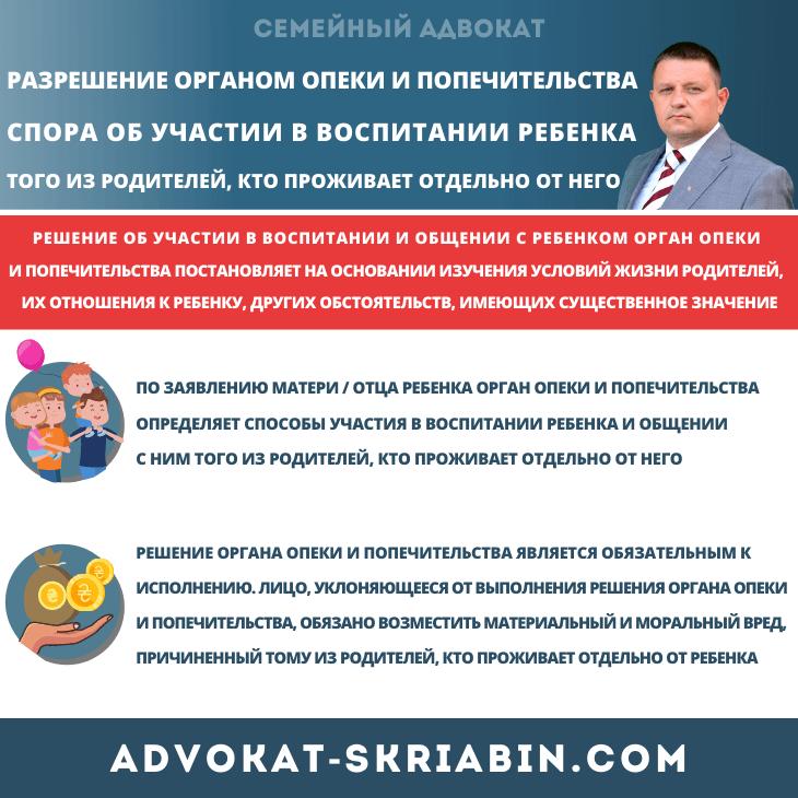 разрешение органом опеки и попечительства спора об участии в воспитании ребенка того из родителей, кто проживает отдельно от него